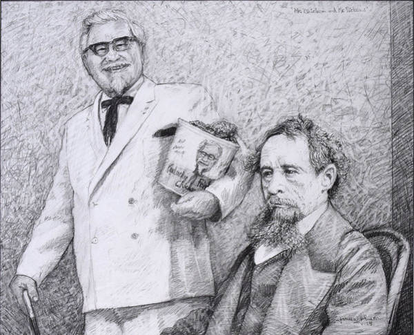 Charles Drawing - Mr Chicken And Mr Dickens by James W Johnson