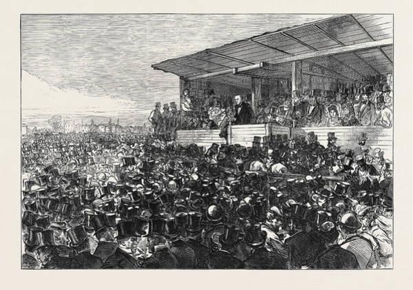 Gladstone Wall Art - Drawing - Mr. Gladstone Addressing The Meeting On Blackheath London by English School