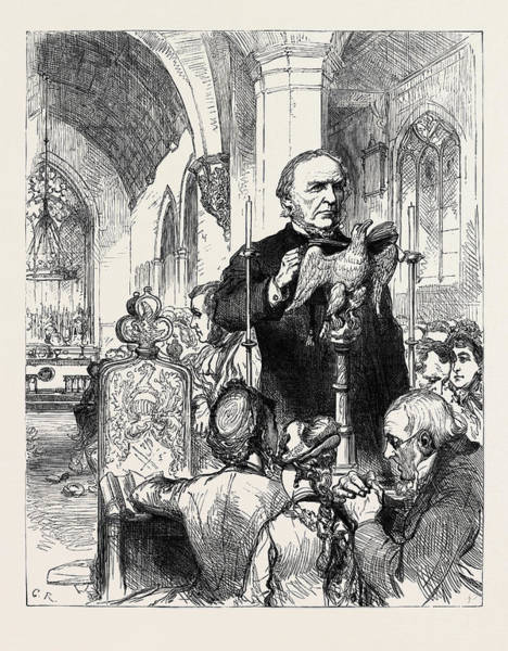 Gladstone Wall Art - Drawing - Mr. Gladstone Reading The Lessons At Hawarden Church 1880 by English School