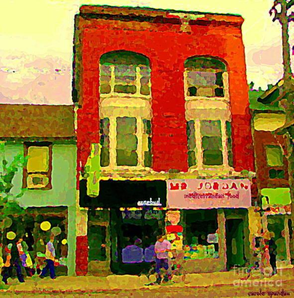 Painting - Mr Jordan Mediterranean Food Cafe Cabbagetown Restaurants Toronto Street Scene Paintings C Spandau by Carole Spandau