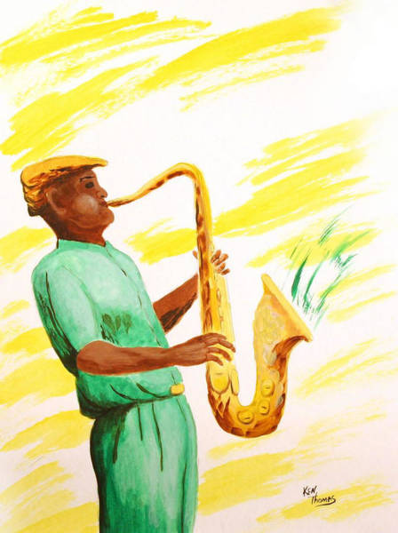 Sax Painting - Mr. Mellow  by Kenneth Thomas