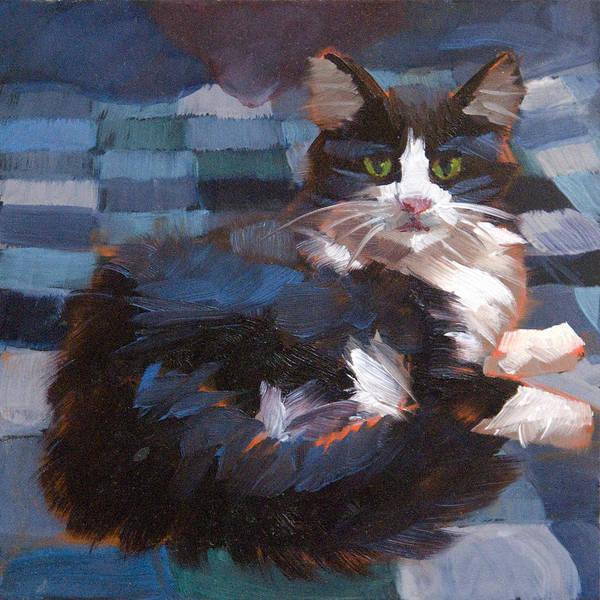 Tuxedo Cat Painting - Mr. Tuxedo by Alice Leggett