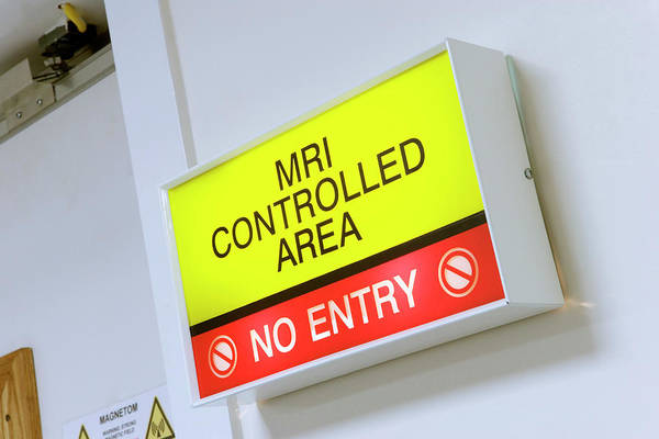 Sick Wall Art - Photograph - Mri Warning Sign by Gustoimages/science Photo Library