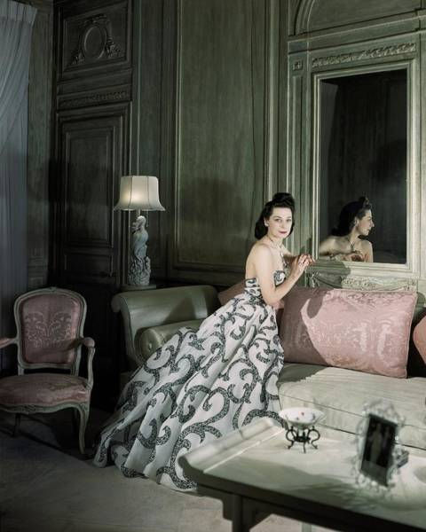 Mirror Photograph - Mrs. Byron C. Foy Wearing A Dress by Horst P. Horst