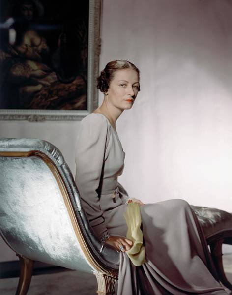 Lounging Photograph - Mrs. Cameron Clark Sitting On A Chaise Lounge by Horst P. Horst