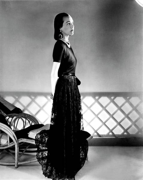 Wall Art - Photograph - Mrs. Carroll Carstairs Wearing A Lace Skirt by Horst P. Horst