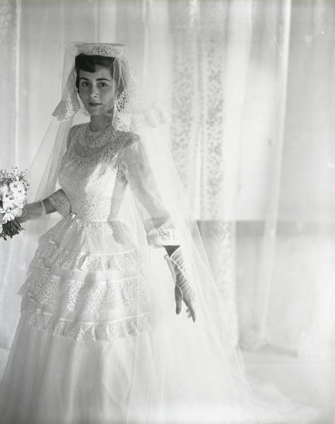 Wedding Bouquet Photograph - Mrs. Chance Vought Wearing A Wedding Gown by Horst P. Horst