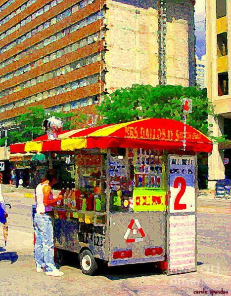 Painting - Mrs Dalloways Hotdog Stand Street Vendor Yonge And Gerrard Toronto Food Cart Scenes Cspandau Art by Carole Spandau