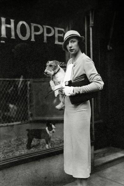 Footpath Photograph - Mrs. Geoffrey Mcn. Gates Holding A Dog by Cecil Beaton