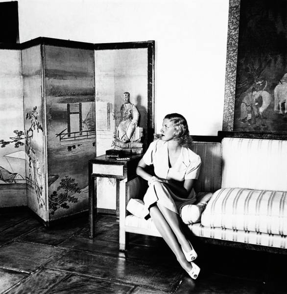 Screen Photograph - Mrs. George X. Mclanahan On A Sofa by Horst P. Horst