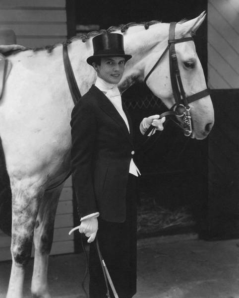 Working Animal Photograph - Mrs. Harold E. Talbott With A Horse by Edward Steichen