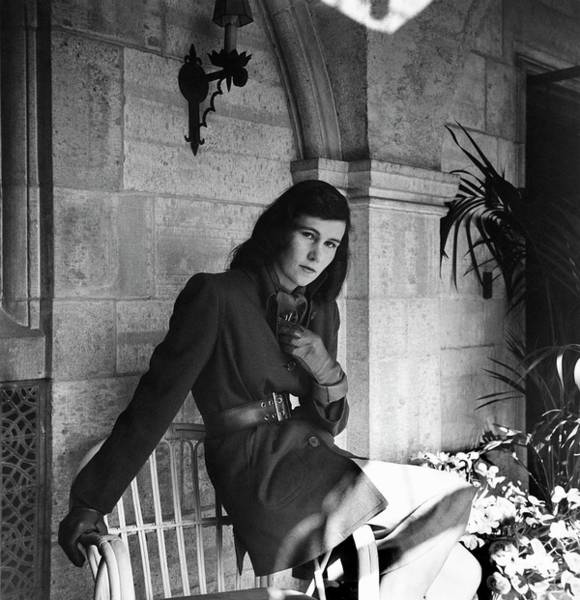 Outdoor Furniture Photograph - Mrs. James Polk Wearing A Coat by Horst P. Horst