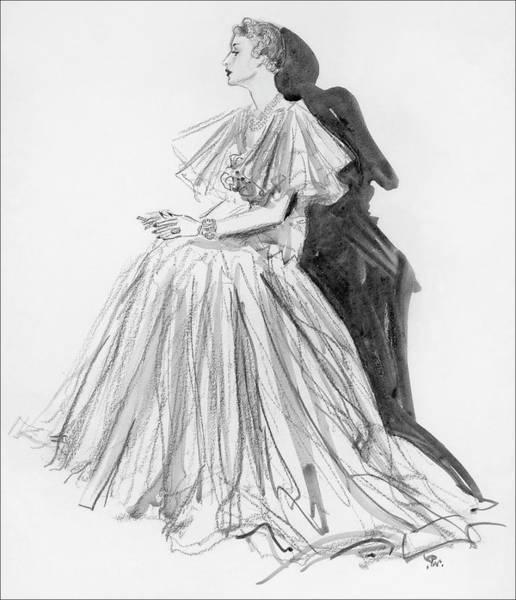 Indoors Digital Art - Mrs. Jay O'brian Wearing A Grey Tulle Dress by Porter Woodruff