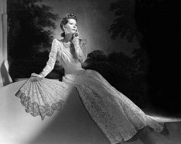 Photograph - Mrs. John Wilson Wearing A Lace Dress by Horst P. Horst