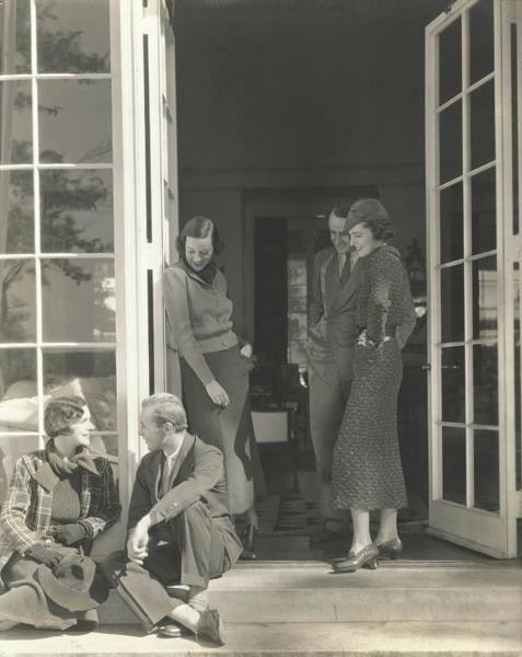 Knit Hat Photograph - Mrs. Langdon Post Talking With Mr. William by Edward Steichen