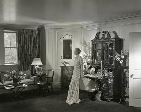 Cats Photograph - Mrs. Laurance H. Armour Standing In Her Apartment by George Hoyningen-Huene