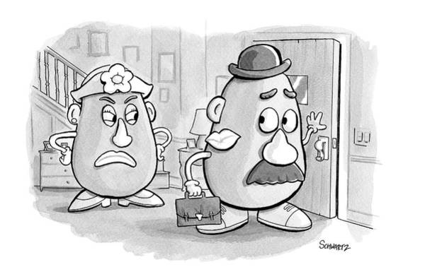 Affair Drawing - Mrs. Potato Head Casts A Dirty Look by Benjamin Schwartz