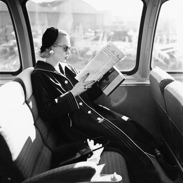 Woman Reading Wall Art - Photograph - Mrs. William Mcmanus Reading On A Train by Leombruno-Bodi