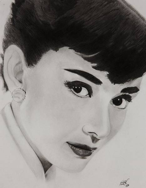 New York Drawing - Ms Hepburn by Brian Broadway