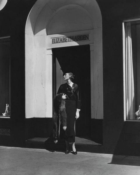 Photograph - Ms. Johnson In Front Of Elizabeth Arden's Salon by Lusha Nelson