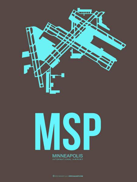 Minneapolis Digital Art - Msp Minneapolis Airport Poster 1 by Naxart Studio