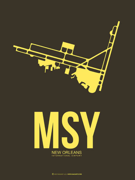 Wall Art - Digital Art - Msy New Orleans Airport Poster 3 by Naxart Studio