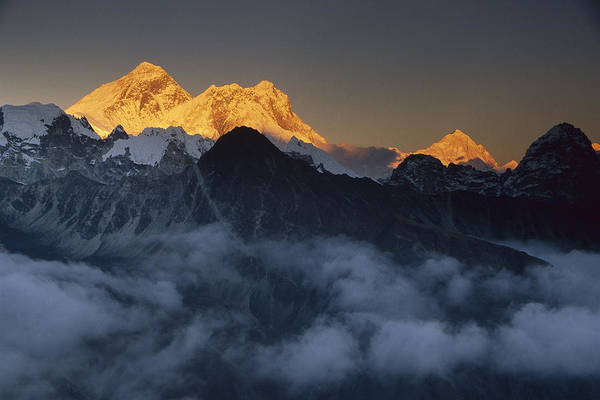 Photograph - Mt Everest Lhotse And Makalu Nepal by Colin Monteath