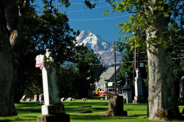 Famous Cemeteries Photograph - Mt. Hood Is Seen Behind An Old by Rob Hammer