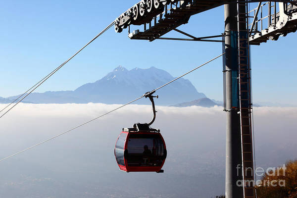 Photograph - Mt Illimani And Cable Car by James Brunker