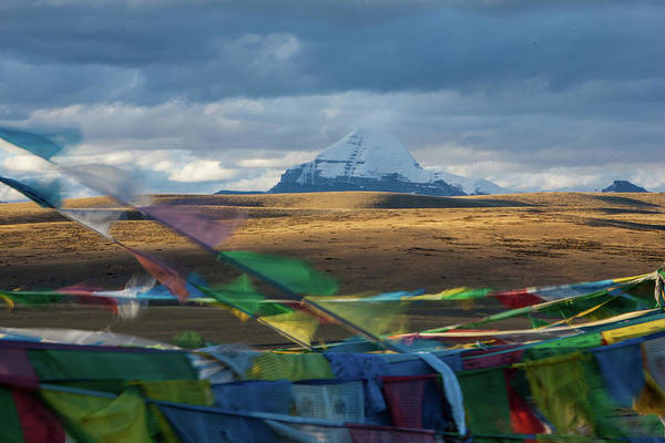 Mt. Kailash And Prayer Flags,western Art Print
