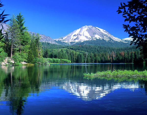Dome Peak Photograph - Mt Lassen Rises Above Manzanita Lake by John Alves