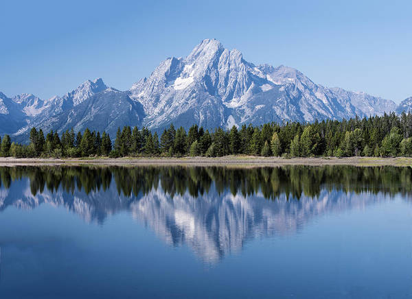 Photograph - Mt. Moran At Grand Tetons With Reflection In Lake by William Bitman