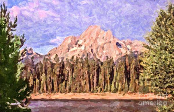 Teton National Park Digital Art - Mt Moran From Colter Bay by Liz Leyden