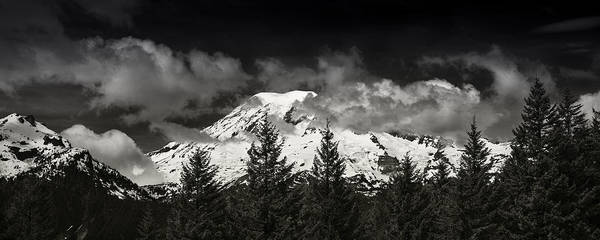 Mount Rainier Photograph - Mt Rainier Panorama B W by Steve Gadomski