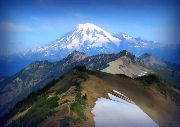 Goat Rocks Wilderness Wall Art - Painting - Mt. Ranier From Goat Rocks Wilderness by Linda Seifried