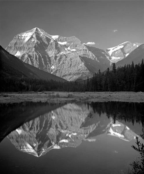 Photograph - 1m2415-bw-mt. Robson Reflect by Ed  Cooper Photography