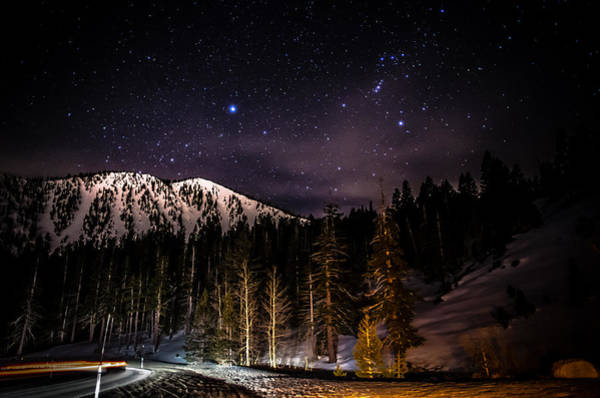 Mt. Rose Highway And Ski Resort At Night Art Print