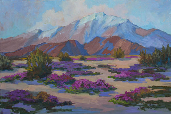 Wall Art - Painting - Mt. San Jacinto And Verbena by Diane McClary