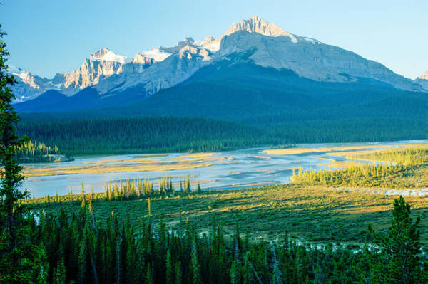 Epaulette Photograph - Mt. Sarbach And Bow River by Douglas Barnett