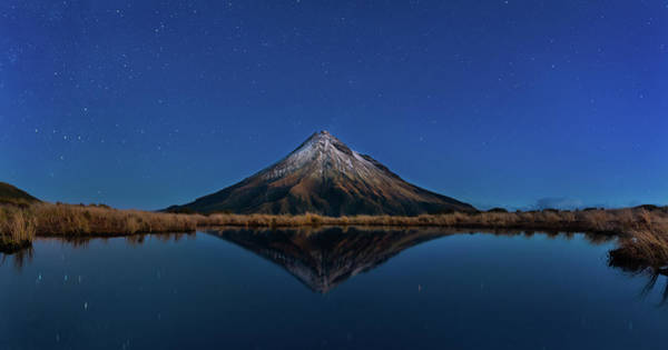 Mounted Photograph - Mt Taranaki by Fei Shi
