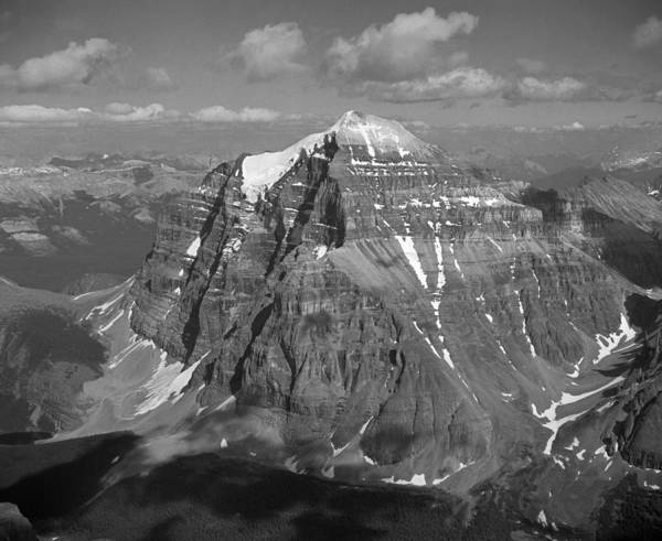 Photograph - T-603511-mt. Temple Seen From Top Of Mt. Lefroy1-bw by Ed  Cooper Photography