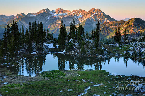 Mt. Timpanogos At Sunrise From Silver Glance Lake Art Print