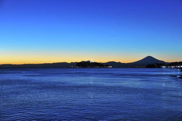 Kamakura Wall Art - Photograph - Mt.fuji And Enoshima Island After Sunset by Taro Hama @ E-kamakura