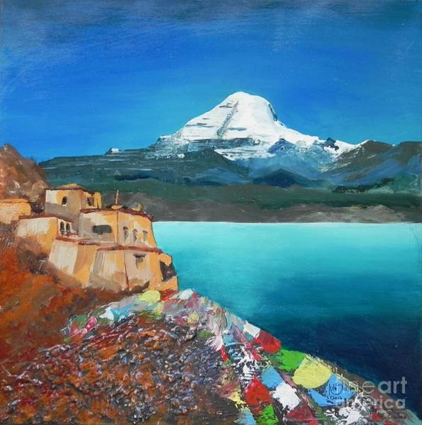 Wall Art - Painting - Mt.kailash With Chiu Gompa Monastery by Jolanta Shiloni