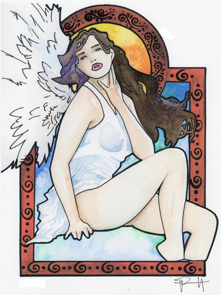 Painting - Mucha Angel by Sean Parnell