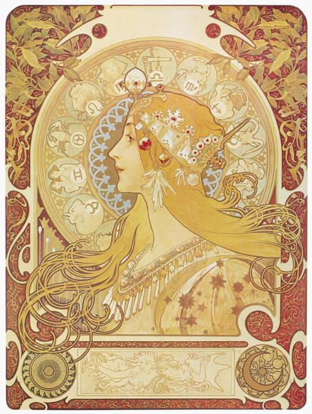 Alphonse Mucha Painting - Mucha Zodiac, 1896 by Granger