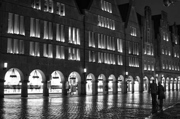 Cobblestone Night Walk In The Town Art Print