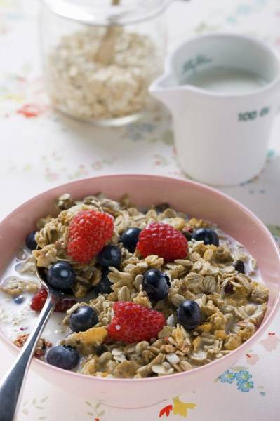 Bilberry Photograph - Muesli With Berries And Milk by Foodcollection
