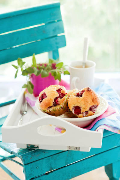 Mug Photograph - Muffins With Strawberries And White by Kemi H Photography