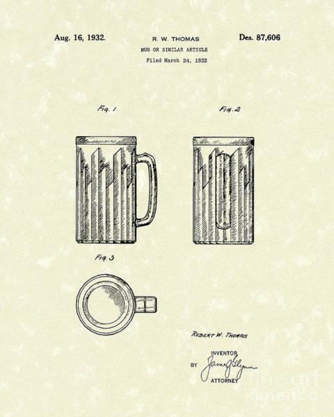 Wall Art - Drawing - Mug 1932 Patent Art by Prior Art Design
